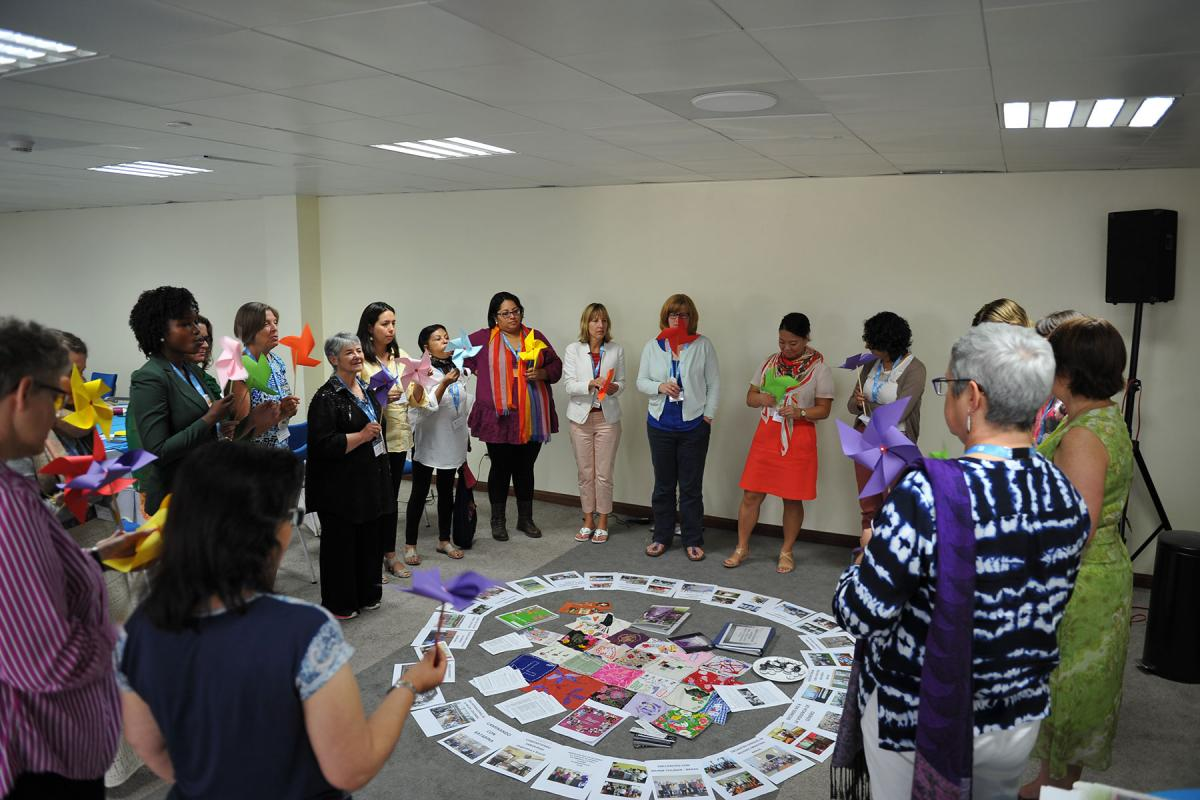 Women delegates and other officials preparing for LWF's Pre-Assemblies for Latin America, the Caribbean and North America, reflect together on how women's networks are mobilizing greater church support for women doing theology, those in leadership and implementation of the LWF Gender Justice Policy, in Paramaribo, Suriname, 28 August. LWF/P. Mumia