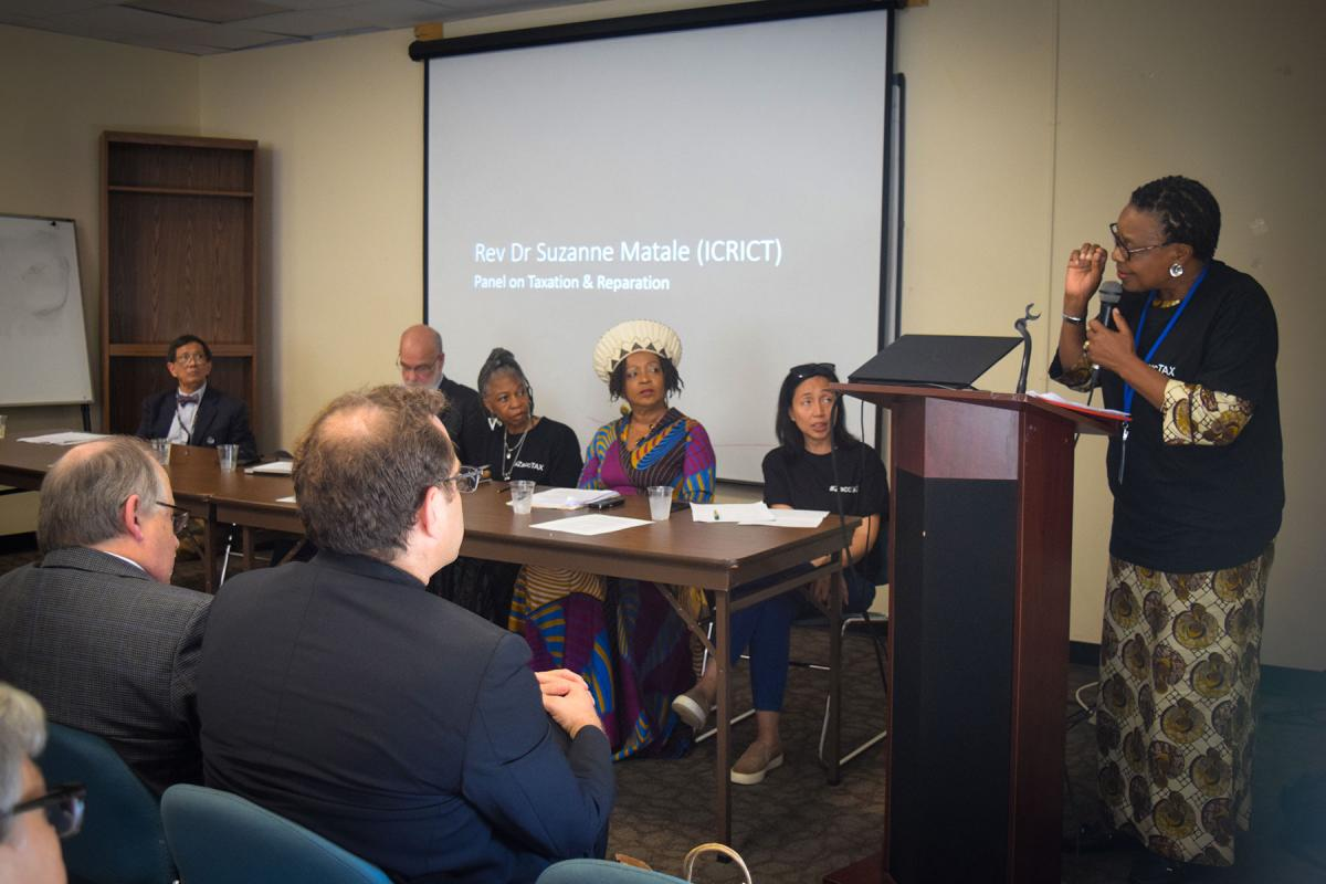 """""""Taxation and Reparation. Tools for promoting equity, climate justice & an economy of life. A side event at the UN High-Level Political Forum on the SDGs."""" Photo: ELCA/Rebecca Anderson"""