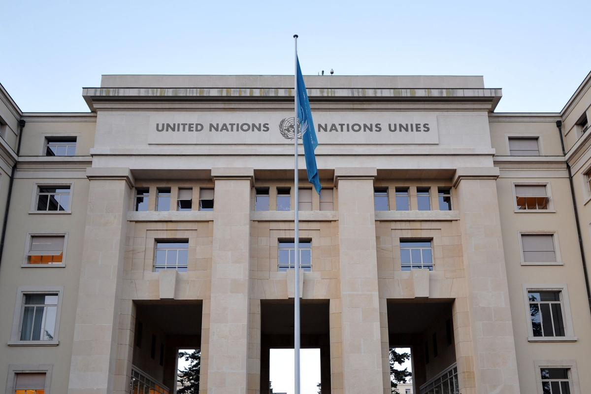 The Palais des Nations in Geneva, where the Human Rights Council meets. Because of sanitary measures, the webinar took place online. Photo: LWF/C. Kästner