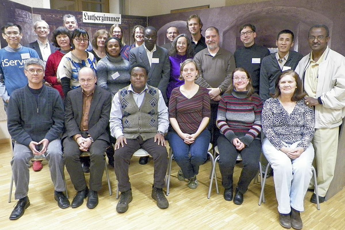 21 pastors from around the world at the LWF seminar on Martin Luther's theology in Wittenberg. Photo: Thomas Böhmert