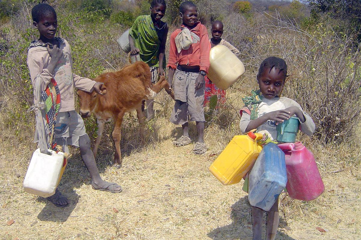 Children search for water in drought-hit southern Angola