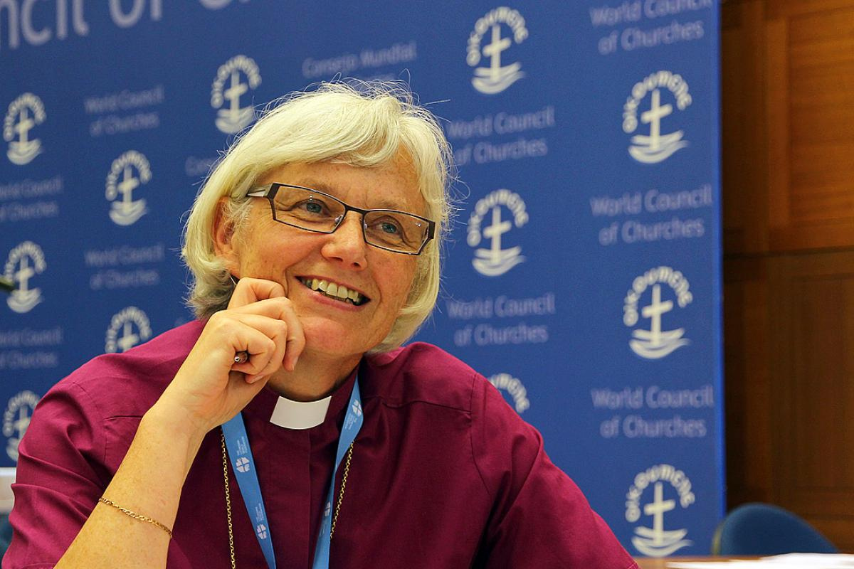 Archbishop Dr Antje Jackelén, Church of Sweden, making a statement during the plenary session of the LWF council meeting on in 2013. Credit: LWF/Maximilian Haas