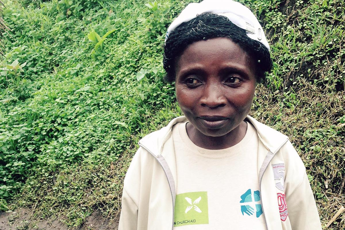 LWF staff member Charlotte, in Masisi, DRC. Photo: LWF/ S. Muis