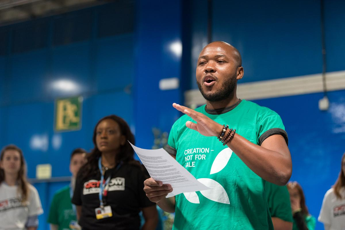LWF Council member Khulekani Sizwe Magwaza advocating for climate justice during COP25 in Madrid, Spain, in 2019. Photo: LWF/Albin Hillert