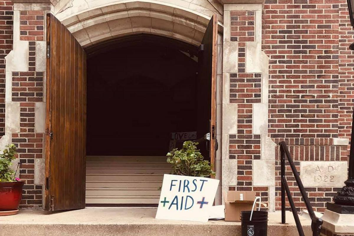 The doors of Holy Trinity in Minneapolis remained opened 24-hours supplying first aid to protestors and food to the community. Photo: Holy Trinity Lutheran Church/D. Rojas Martinez