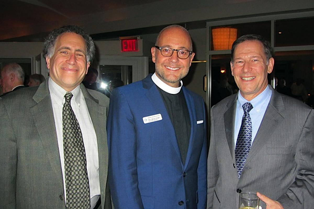 Seafarers International House, Right of Asylum event, New York City, October 23, 2014. Dr. Allen Keller, Rev. Marsh Luther Drege (executive director), Ralston Deffenbaugh. Photo: LIRS