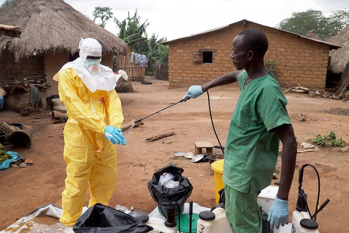 Medical teams in West Africa disinfect their hands. The recent Ebola outbreak is the worst ever recorded in West Africa. Photo: EC/ECHO Jean-Louis Mosser