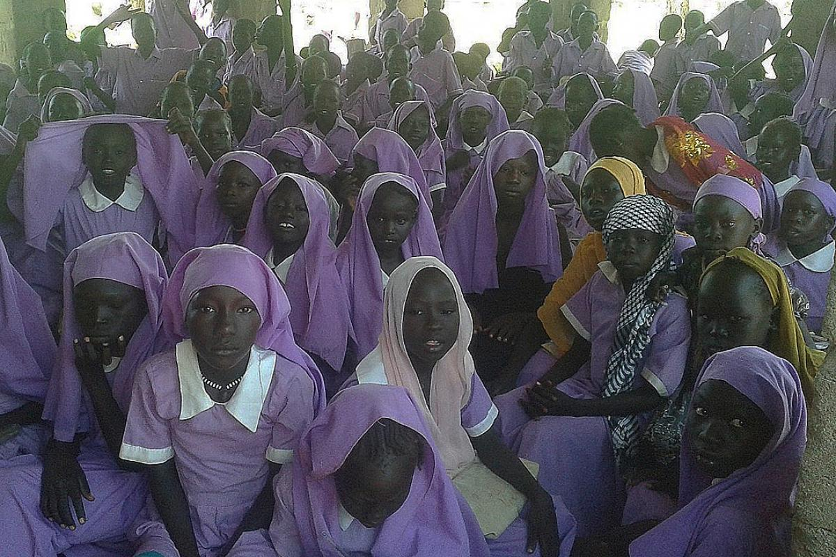 A fully attended classroom with school girls going on with learning unperturbed by the security situation. Photo: LWF South Sudan