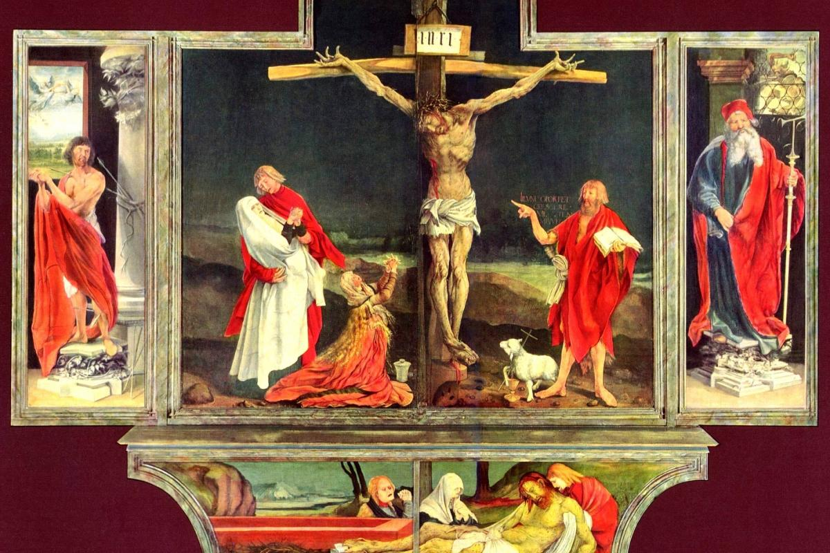The Isenheim Altarpiece painted by Matthias Grünewald in 1512–1516 showing Jesus' crucifiction. It was Grünewald's greatest and largest work, painted for the Monastery of St Anthony in Isenheim near Colmar, France. Credit: Public domain