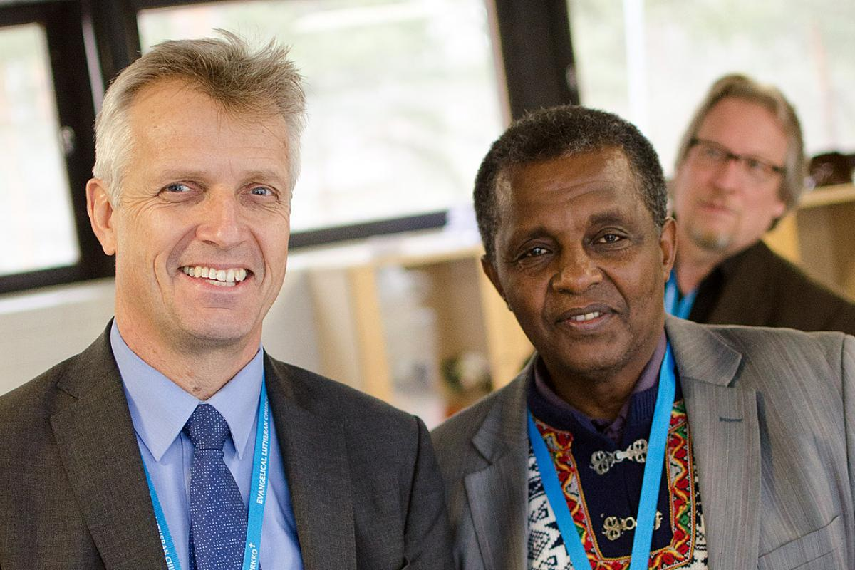 LWF General Secretary Rev. Martin Junge and Rev. Berhanu Edossa Ofgaa, General Secretary of the Ethiopian Evangelical Church Mekane Yesus at the Partnership Consultation. Photo: Marianne Ejdersten/WCC