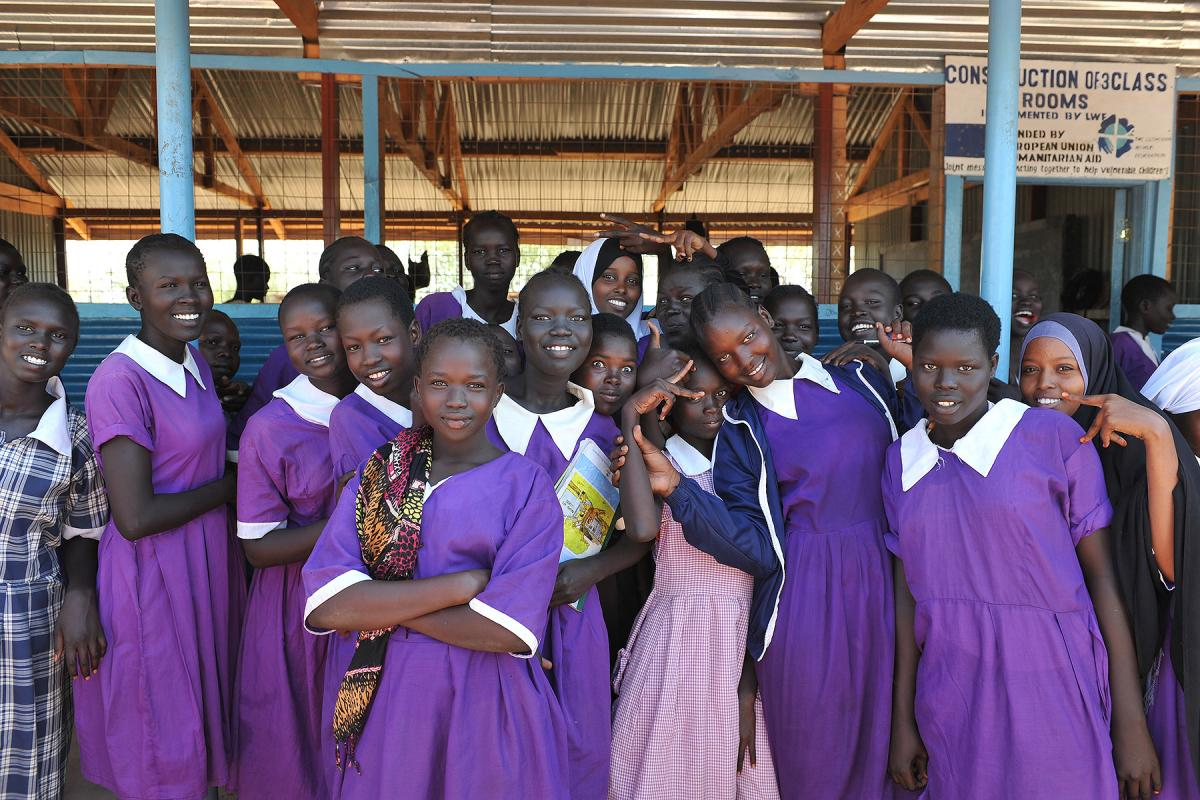 Girls in primary school in Kakuma refugee camp, Kenya. LWF is working to protect their right to education and a childhood without violence. Photo: LWF/ C. Kästner