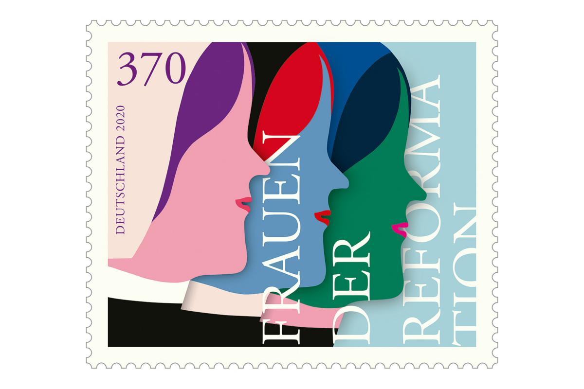 """The """"Women of the Reformation"""" commemorative stamp was designed by Susann Stefanizen and presented to the public in the Market Church in Hannover, Germany. Photo: Federal Ministry of Finance"""