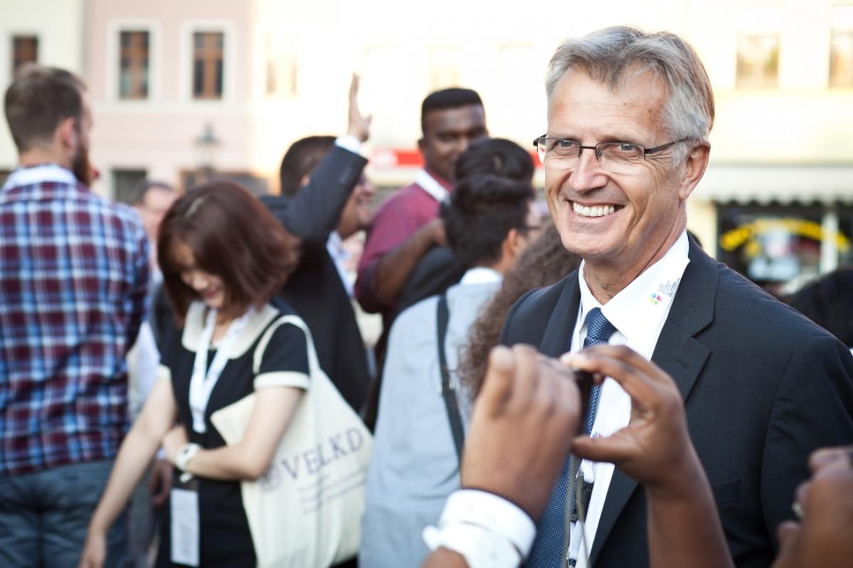 LWF General Secretary Rev. Dr Martin Junge, seen here with delegates of the international workshop for Young Reformers, held in Wittenberg, Germany, August 2015. Photo: Marko Schoeneberg