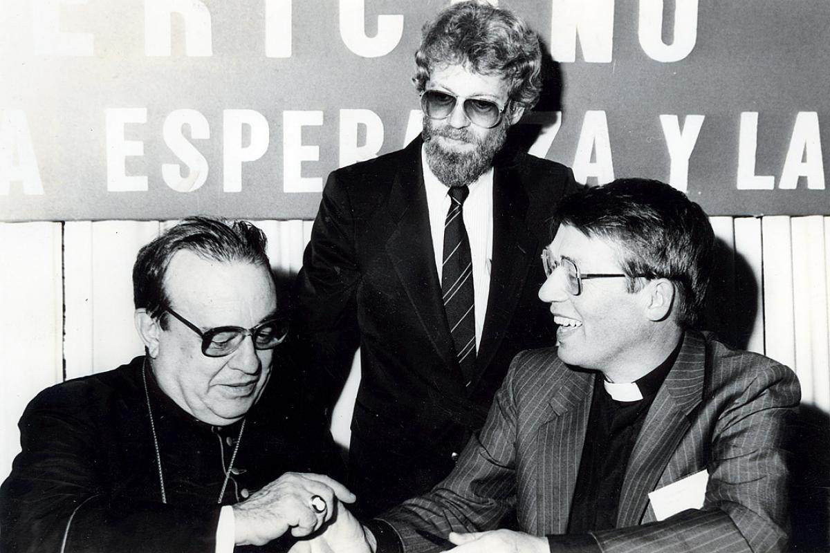 Bishop em. Dr Gunnar Stȧlsett (right), during his term as LWF General Secretary. Photo: LWF Archives