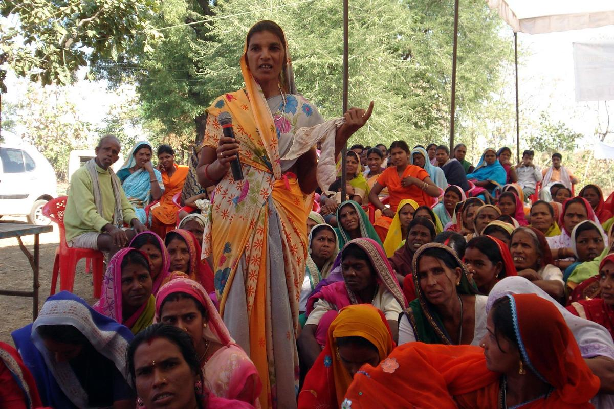 A member of a women's group with the Abhilasha Federation, shares her views during an empowerment training seminar focusing on the role of women in community development, leadership and economic empowerment, in Shahpur, Betul, Madhya Pradesh, India. Photo: ELC WESA PROJECT