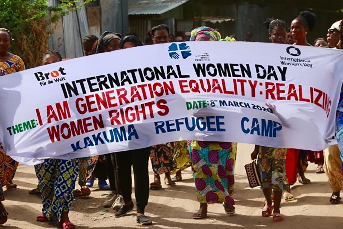 Women in Kenya's Kakuma refugee camp, where LWF is the main implementing partner for UNHCR, celebrate International Women's Day 2020. Photo: LWF Kenya/Akbar