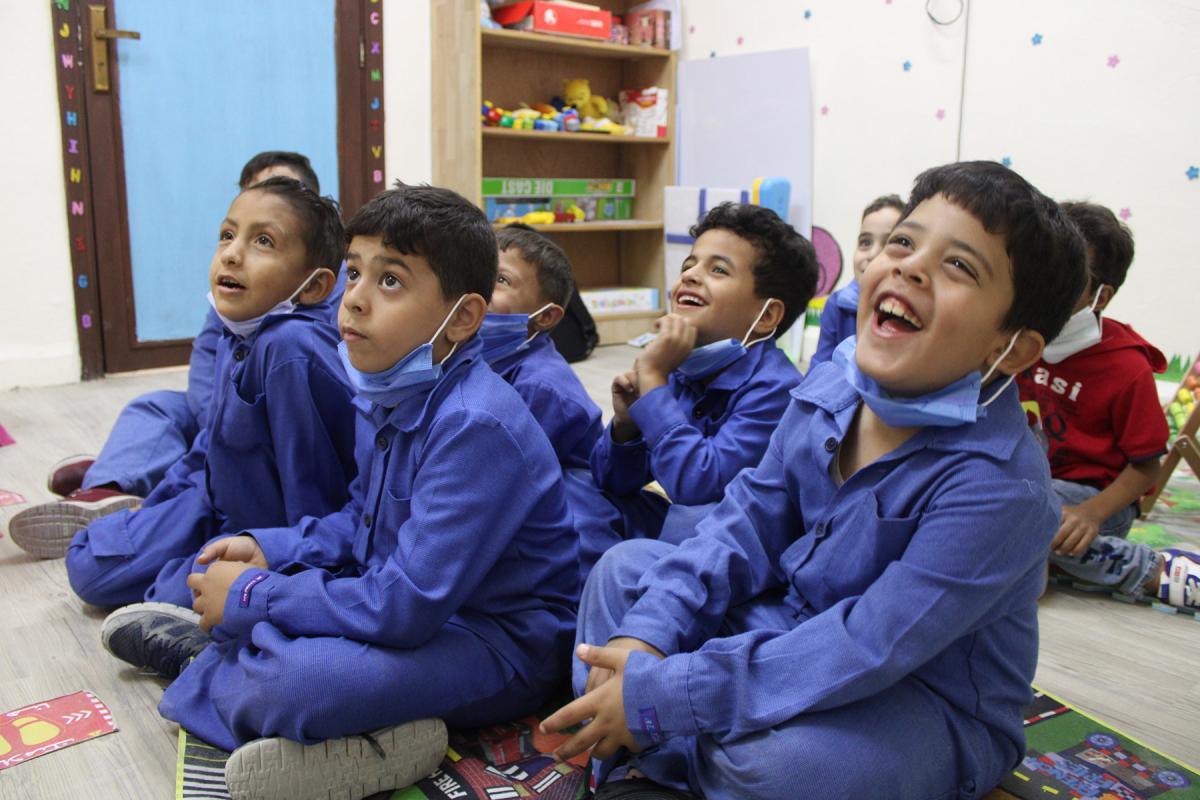 Students enjoy the multi-purpose-room at Othman Bin Affan Primary School for Boys in Zarqa. Photos: LWF/ A. Alsamra