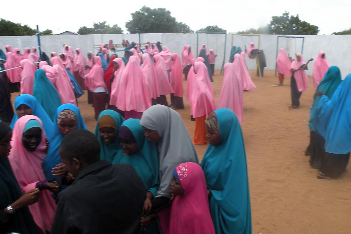 Girls assemble in a school yard in Dadaab refugee camp, Kenya. Education is a focus of LWF work in the camp. Photo: LWF/Kenya
