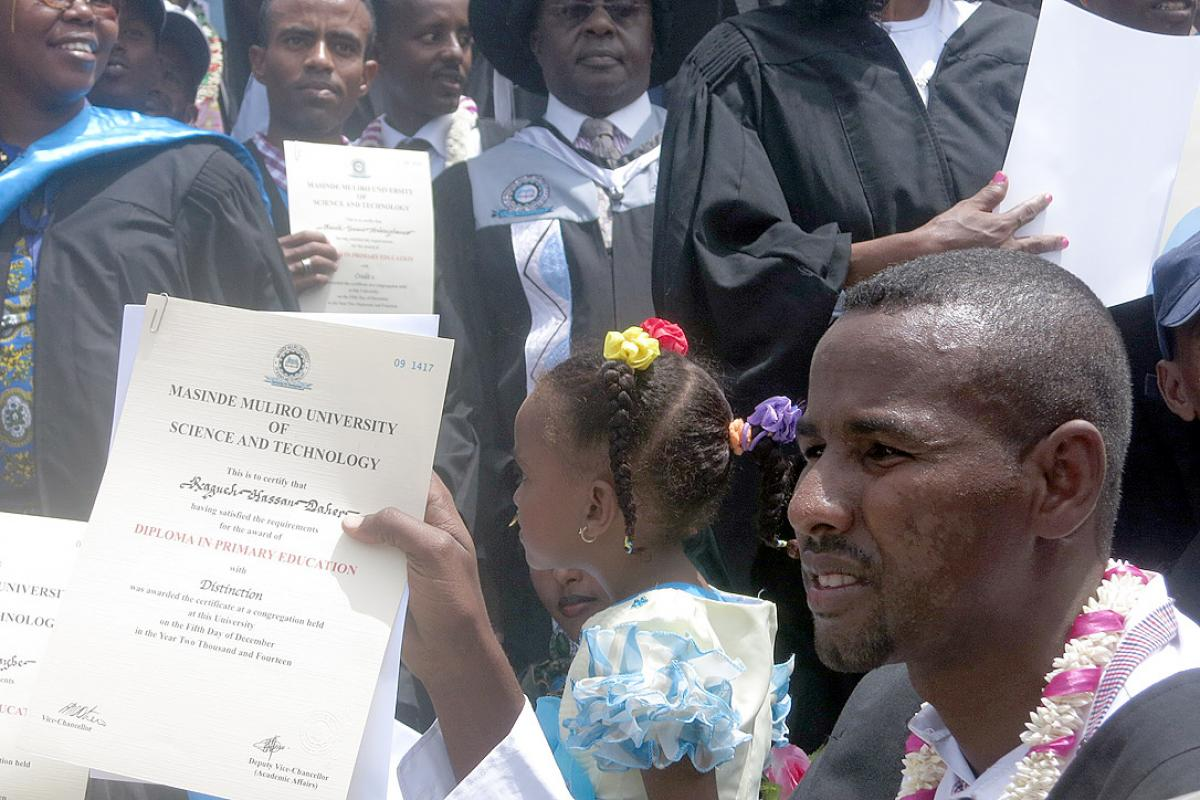 Graduates with diploma at the graduation ceremony. Photo: LWF/Kenya-Djibouti