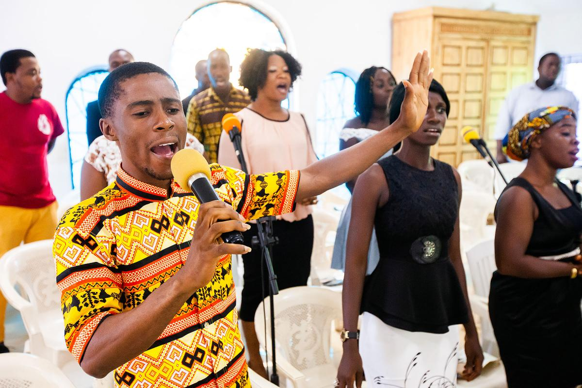 "Young people: ""The St. Stephen Episcopal Church choir performs at the launch of the Waking the Giant initiative at the Liberia Council of Churches General Assembly in Monrovia, Liberia. Photos: LWF/John Healey"
