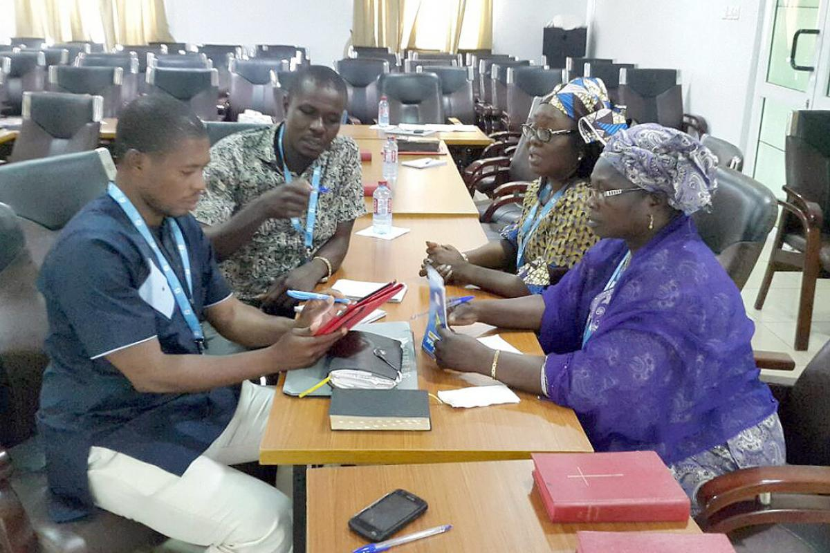 Participants at a breakout session during the LUCCWA training workshop in Accra, Ghana. Photo: LUCCWA