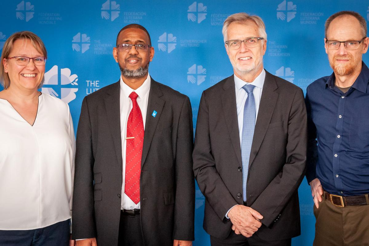 LWF and Islamic Relief Worldwide offered a joint pledge at the Global Refugee Forum in December 2019. From left: Ms Maria Immonen, Director of LWF World Service, Mr. Naser Haghamed, CEO of Islamic Relief Worldwide, Rev. Dr Martin Junge, General Secretary of the LWF, Mr Atallah Fitzgibbon, Faith Partnership Advisor for Islamic Relief Worldwide. Photo: LWF/S. Gallay