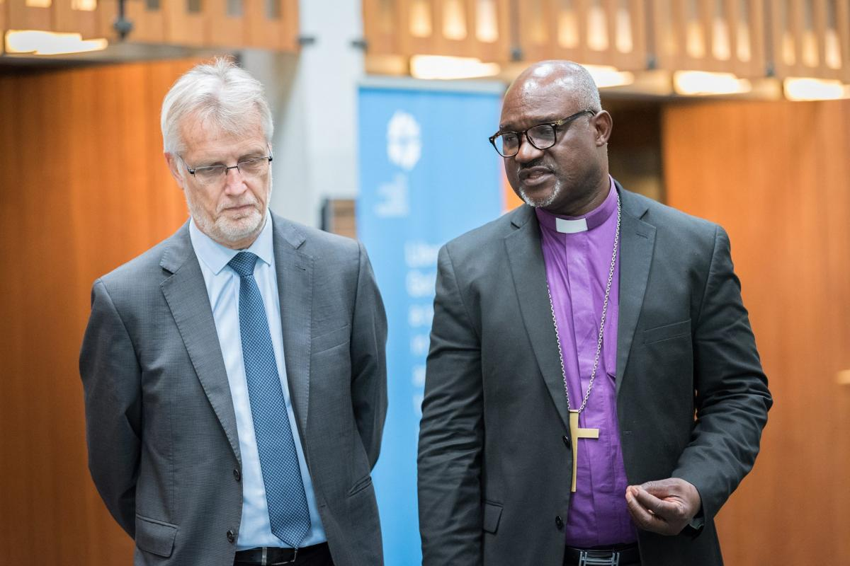 The LWF has urged members of the global community of states to mark the 70th anniversary of the Universal Declaration of Human Rights today by reaffirming commitment to the declaration and to safeguarding freedom, justice and peace in the world. LWF general secretary Rev. Dr Martin Junge (left) and LWF President Archbishop Musa Panti Filibus (right). Photo: LWF/Albin Hillert