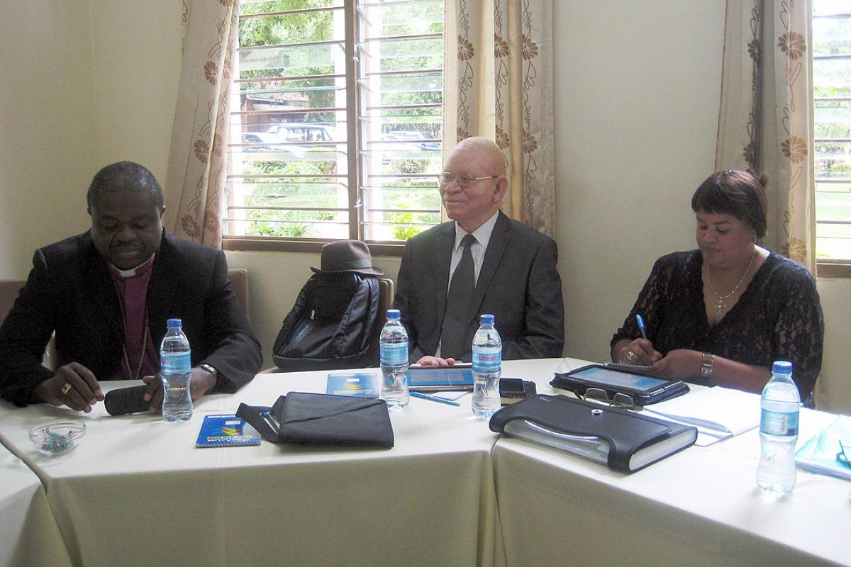Bishops Malasusa and Kameeta and Ms Colleen Cunningham at the Marangu meeting. Photo: ELCT/Elizabeth Lobulu