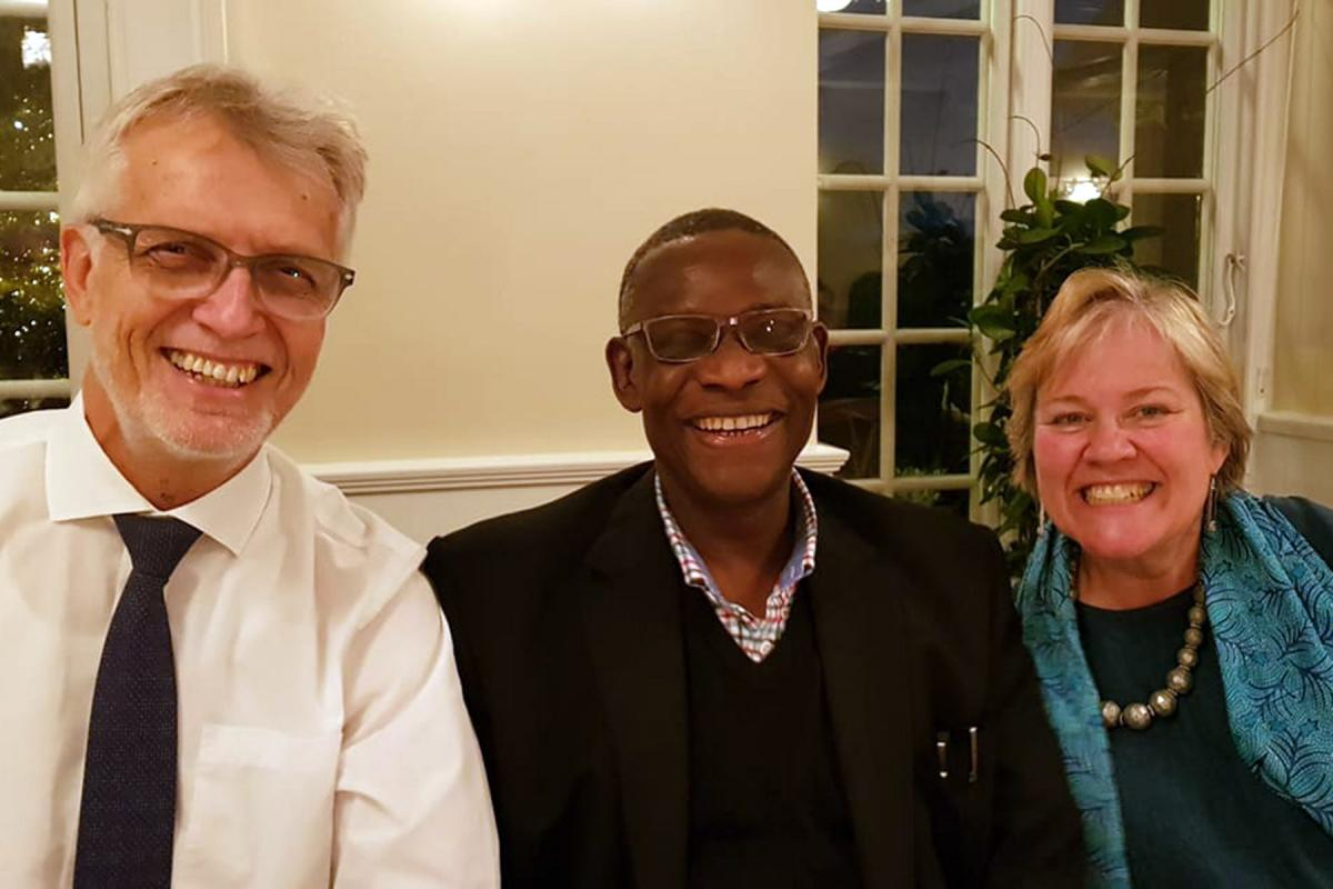 LWF General Secretary Rev. Dr Martin Junge, left, with Archbishop Josiah Idowu-Fearon, General Secretary of the Anglican Communion and the chair of the Conference of Secretaries of Christian World Communions, Gretchen Castle, who also serves as General Secretary of the Friends World Committee for Consultation (Quakers). Photo taken in 2019, before the COVID-19 pandemic. Photo: LWF/Martin Junge