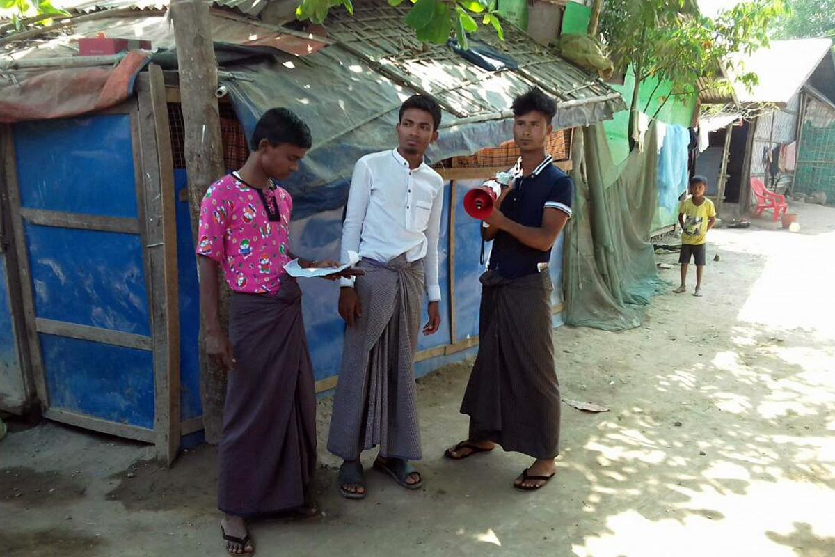 In IDP camps in Rakhine State, loudspeakers are used to broadcast COVID-19 prevention messaging in Rohingya and other local languages. All Photos: LWF/Myanmar