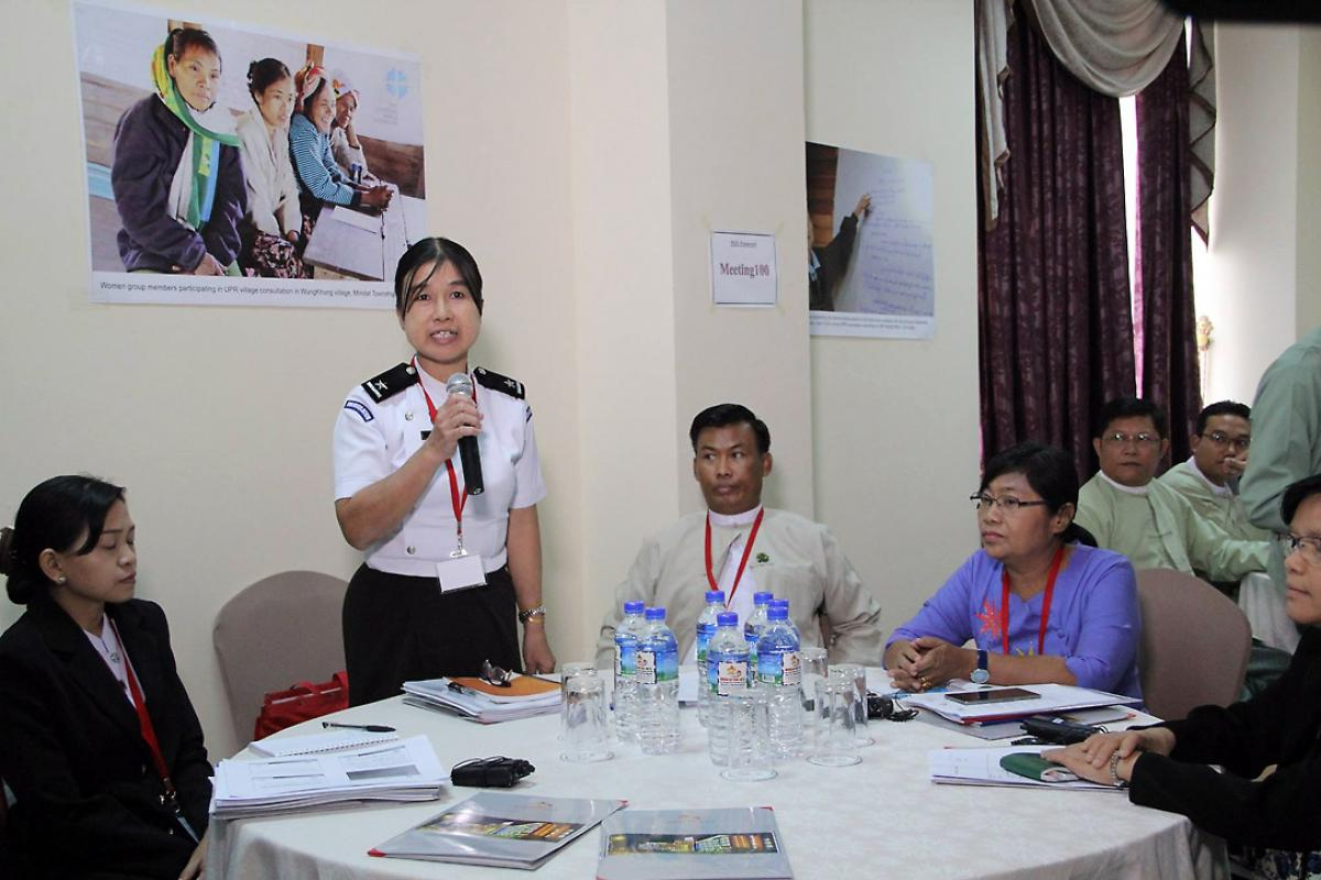 A participant from the Myanmar government contributes to the human rights discussion, at a meeting organized by LWF Myanmar. Photo: LWF Myanmar