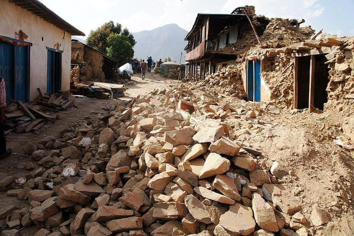 Caption: A street in Dhusel village, Lalitpur, which has been entirely destroyed by the April Earthquake. Most people had just started to pick up the pieces when the second tremor hit. Photo: LWF/ C. Kästner