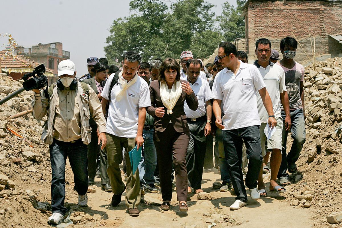 Dutch foreign trade and development cooperation minister Lilianne Ploumen visits the relief work of the Lutheran World Federation Nepal in Indrayani village. Photo: LWF Nepal