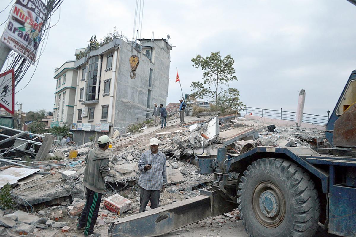 Houses destroyed in Kathmandu, Nepal. Photo: LWF Nepal