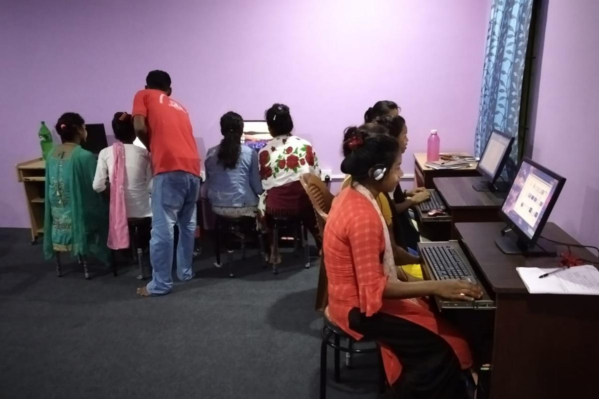 The first group of eight students at the new ICT center of the Nepal Evangelical Lutheran Church in the southeastern city of Biratnagar. Photo: NELC
