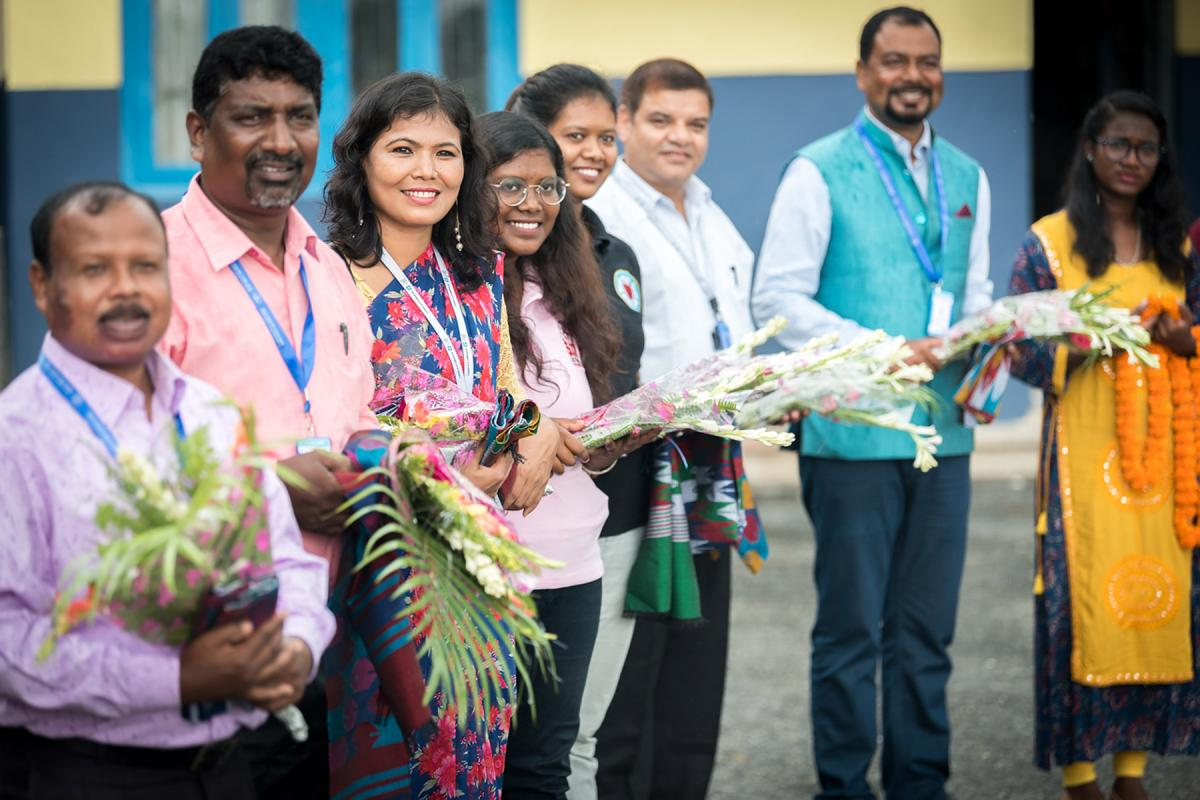LWF staff and members of the Nepal Evangelical Lutheran Church await the arrival of LWF general secretary Rev. Dr Martin Junge at Biratnagar airport, Nepal. Photo: LWF/Albin Hillert