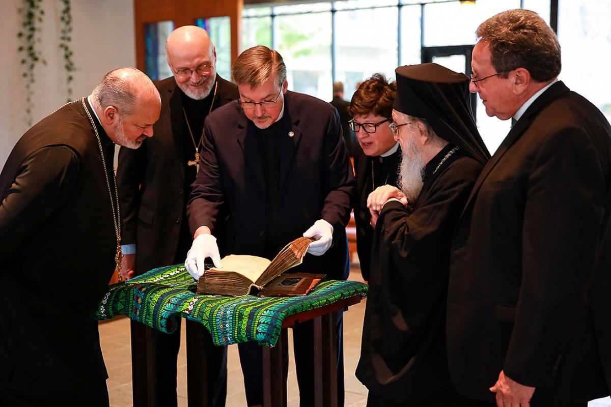 "ELCA Presiding Bishop Elizabeth A. Eaton (third from right) said LSTC giving back the New Testament manuscript to the Greek Orthodox Church was ""an expression of the essential partnership between theological education and Lutheran-Orthodox relations."" Photo: Will Nunnally"