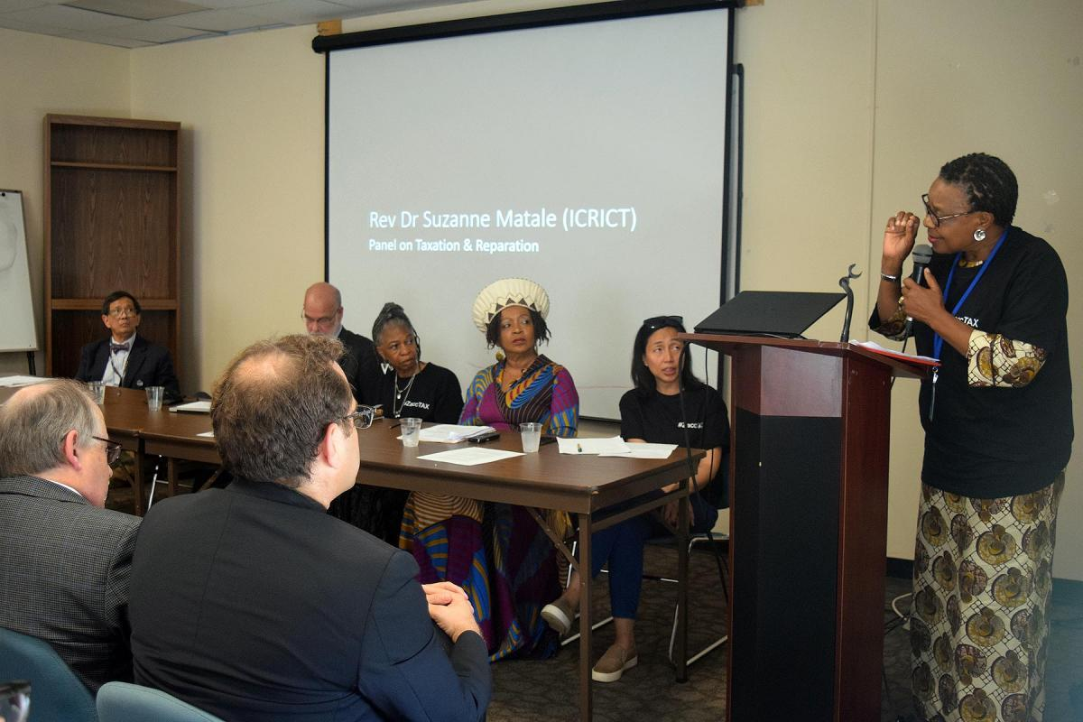 Rev. Suzanne Membe Matale addresses a panel on 'Taxation and Reparation: Tools for promoting equity, climate justice & an economy of life' at a side event during a 2019 UN High-Level Political Forum on the SDGs. Photo: ELCA/Rebecca Anderson