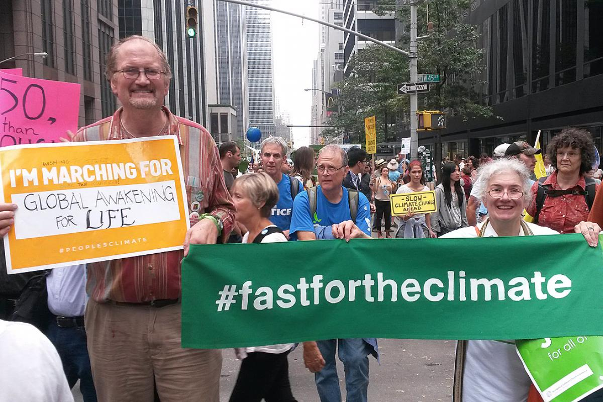 """The LWF delegation to the New York Climate events participated in the """"Largest Climate March"""" in history, held 21 September, in New York City. Photo: #FastForTheClimate/Nikola Taylor"""