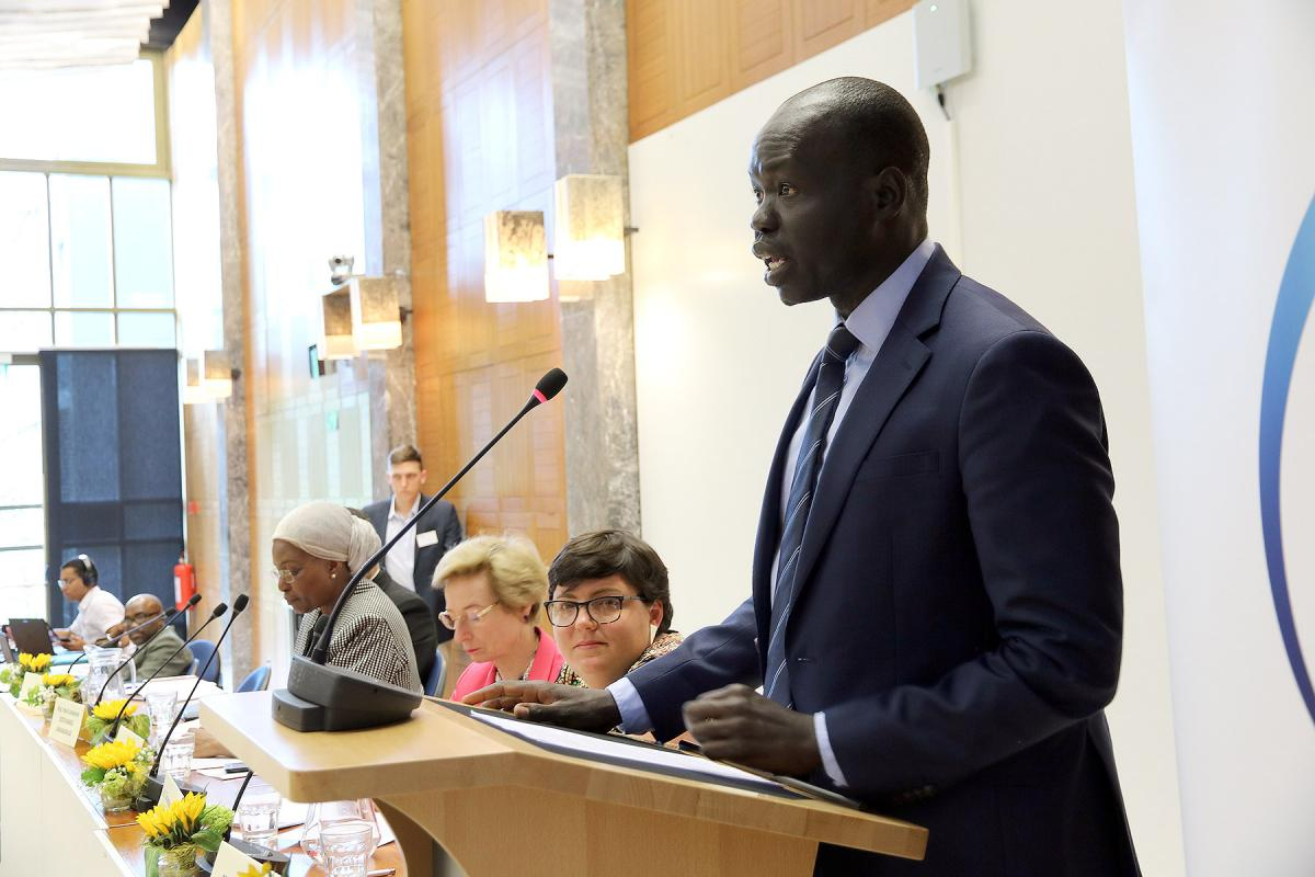 LWF Assistant General Secretary for International Affairs and Human Rights, Dr Ojot Miru Ojulu addresses the Geneva conference. Photo: WCC/Ivars Kupcis