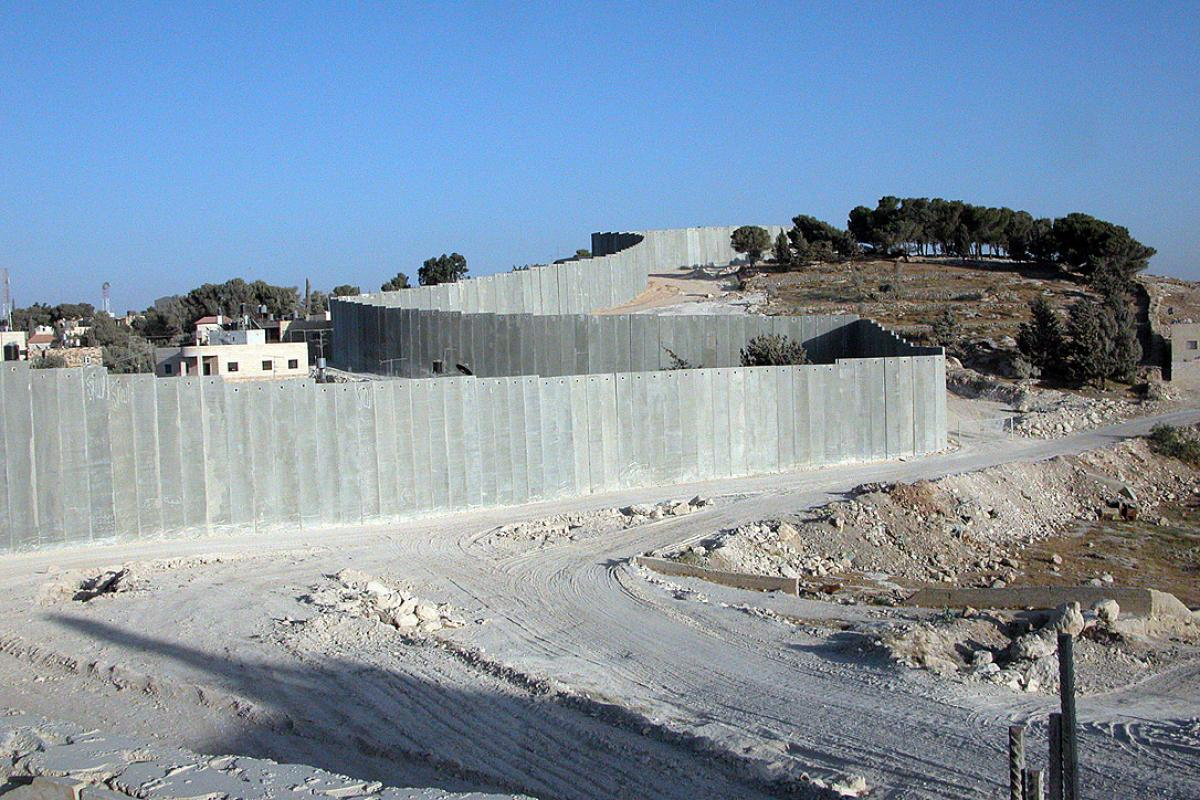 A section of the Separation Wall snakes through the area of Abu Dis outside of East Jerusalem. Photo: LWF/DWS Jerusalem/Margit Christenson