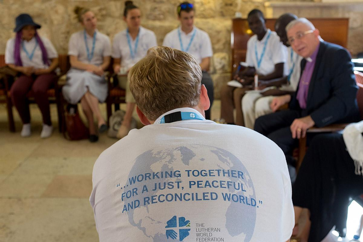 The LWF Peace Messengers are welcomed by Bishop Dr Munib Younan of The Evangelical Lutheran Church in Jordan and the Holy Land. Photo: LWF/Ben Gray