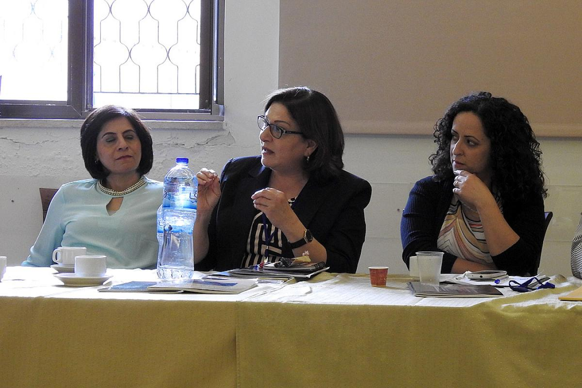 Workshop co-organizer Suad Younan, middle, encouraged the Holy Land church to use its prophetic voice and tools to challenge ecclesiastical and socio-political fixtures, during the launch of the gender justice policy in Arabic. Photo: LWF/E. Neuenfeldt