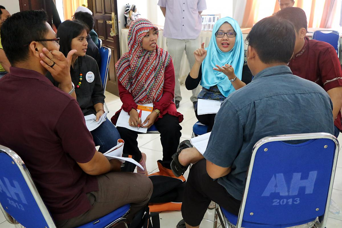 Group discussion among participants during the interfaith training, Medan. Photo: A. Yaqin