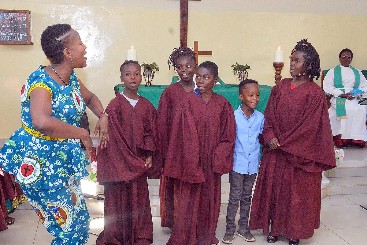 Dancers and singers perform at a morning devotional.
