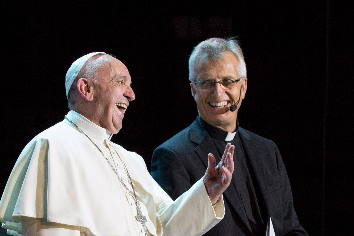 Pope Francis and LWF General Secretary Rev. Dr Martin Junge at the Joint Commemoration of the Reformation in Malmö Arena. Photo: Church of Sweden