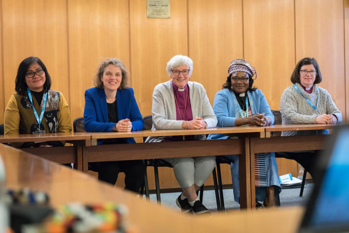 Five LWF vice-presidents: from left to right, Desri Maria Sumbayak, Propstin Astrid Klein, Archbishop Antje Jackelen, Rev. Jeannette Ada Epse Maina and Presiding Bishop Elizabeth Eaton Photo: LWF/A. Hillert