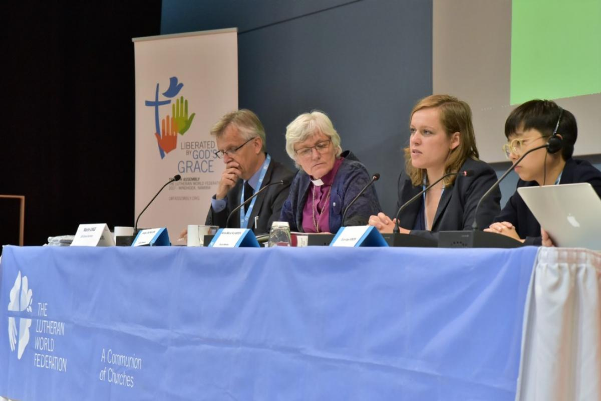 The LWF General Secretary and Council members reflected on the Council at the press conference. From left: General Secretary Martin Junge, Archbishop Antje Jackelén, Anna-Maria Klassen and Eun-hae Kwon. Photo: LWF/Marie Renaux