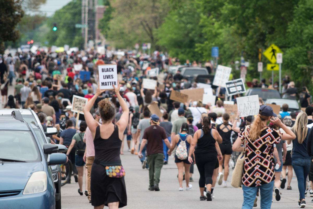 People gathered in Minneapolis to call for justice for George Floyd. Photo: Fibonacci Blue