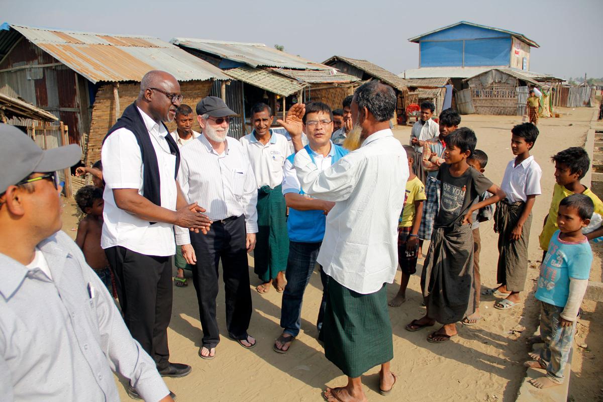 LWF president Archbishop Panti Filibus Musa visits displaced Rohingya at the Ohn Taw Gyi South IDP camp, Rakhine state, Myanmar, in 2018. Photo: LWF/ Phyo Aung Hein